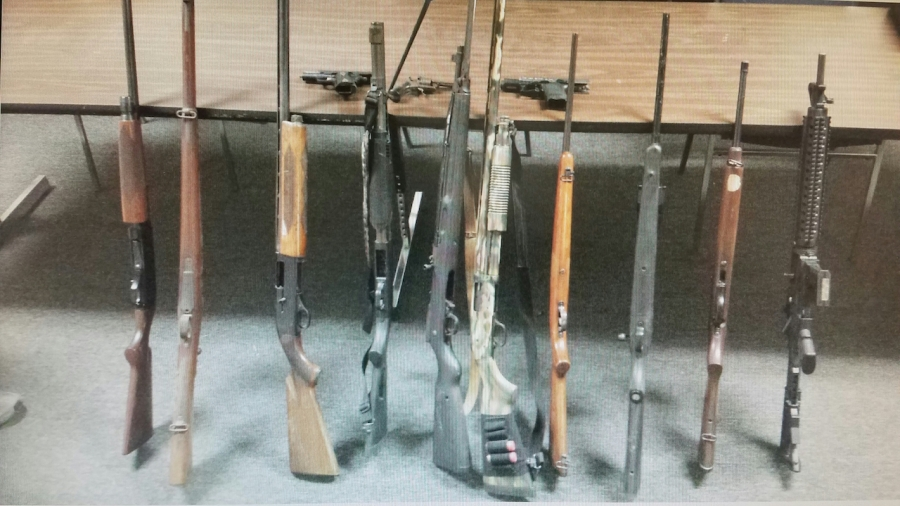 Guns seized in one of the raids.