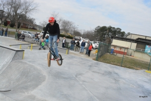 A BMX rider at the park in March.