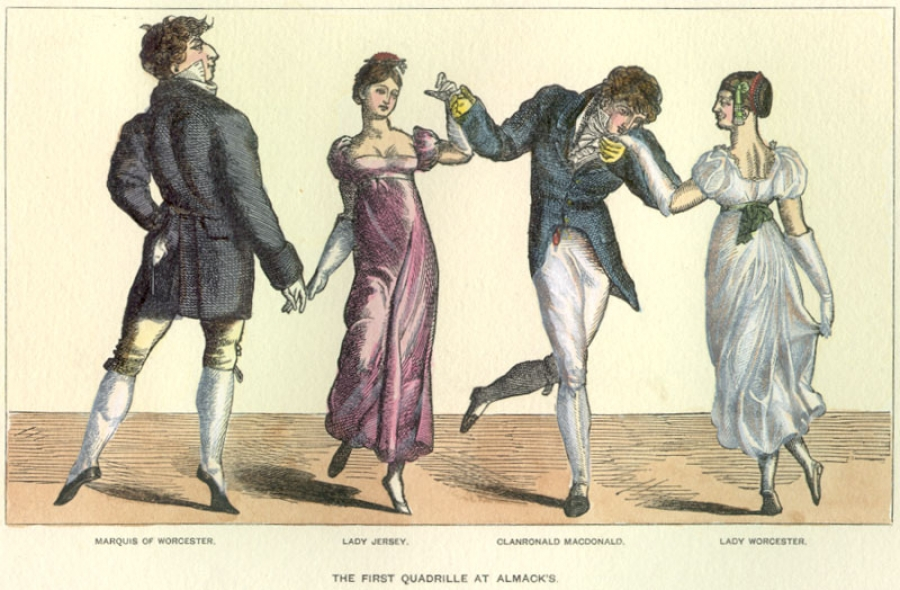 A print called The First Quadrille at Almack's provides an example of Regency Period attire.