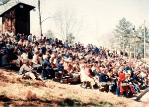 An audience watches an early performance of First for Freedom.