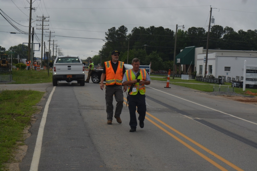 Coggins, right, and public works Director Larry Chalker at the scene.