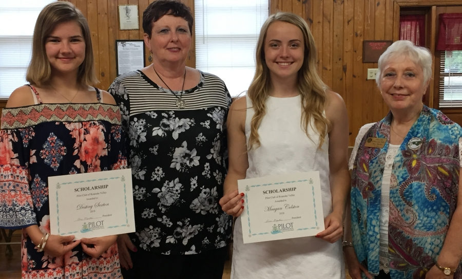 Pictured are Destiny Sexton, Pilot Cecilia Weeks (Scholarship Chair), Meagan Colston and President Ann Martin.