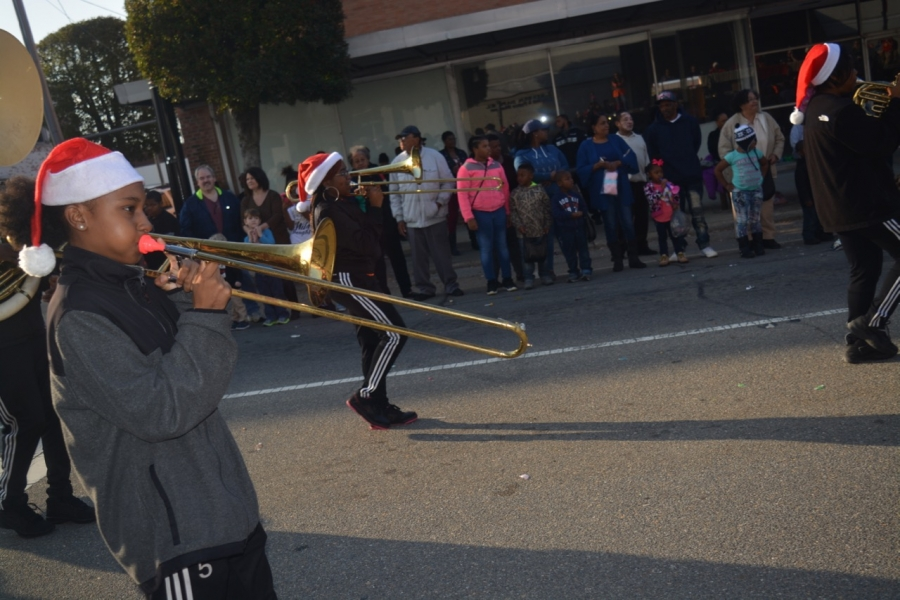 The North Edgecombe band marches down the avenue.
