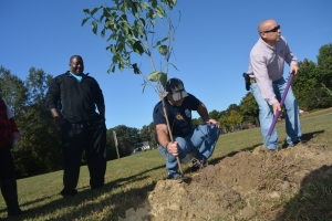 Hines, left, watches as Roanoke Rapids police Chief Chuck Hasty, middle, and Martin, finish planting the tree.