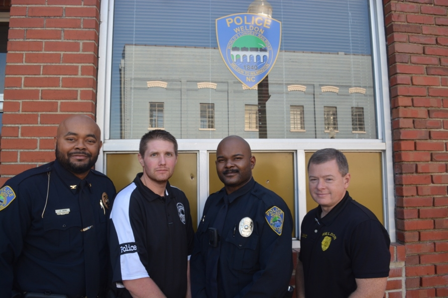 From left, in order of growth, Avens, Sergeant Lee Mason, Officer Quinton Godley and Lieutenant Chris Davis.